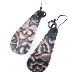 Embossed Handmade Artisan Copper Earrings Rustic